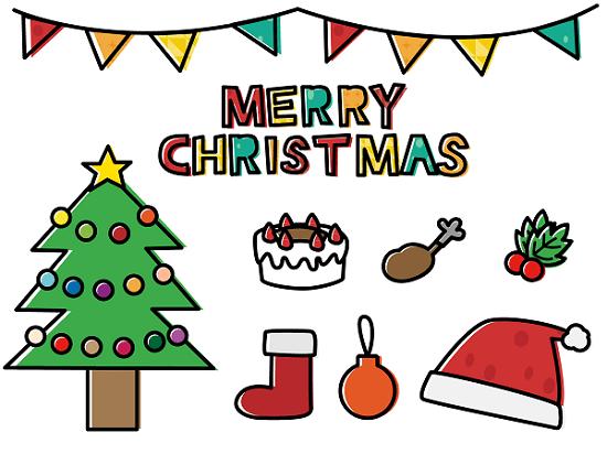 無料フリークリスマスのかわいいおしゃれな手書き風白黒