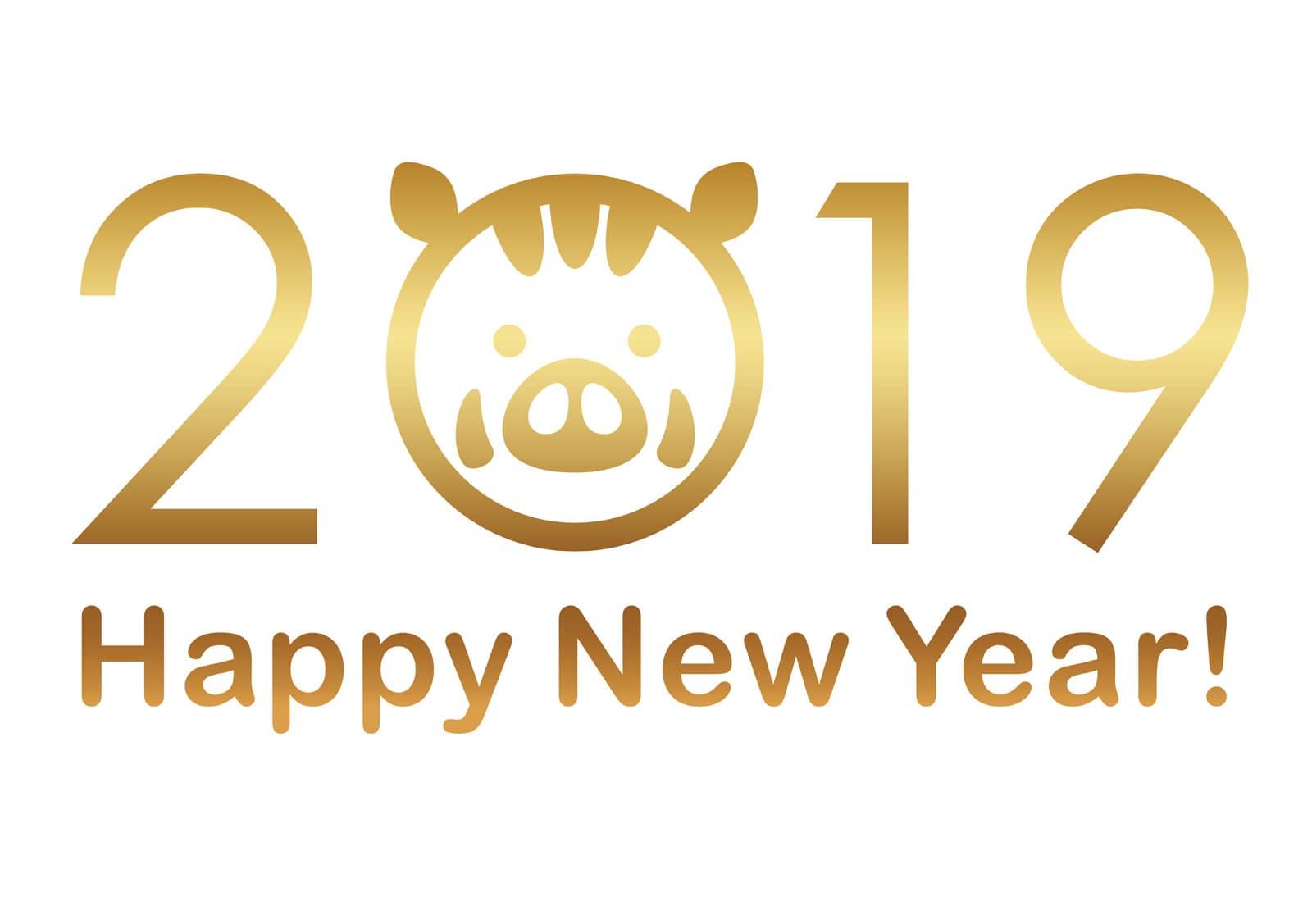 平成31年】2019年(亥(猪)年) 年賀状イラスト・デザイン無料テンプレート